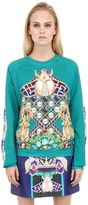 Mary Katrantzou Peacock Printed Heavy Cotton Sweatshirt