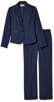 Le Suit LeSuit Women's 1 Button Notch Collar Zipper Pocket Pinstripe Pant Suit