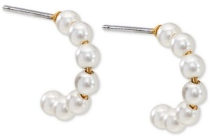 AVA NADRI Imitation Pearl J-Hoop Earrings