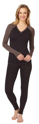 Cuddl Duds Warm Essentials® by Women's Active Long Sleeve V-Neck - Assorted Colors/Patterns