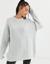 Bershka oversized crew neck sweater in light gray