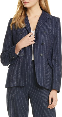 Rebecca Taylor Tailored by Mixed Pinstripe Suit Jacket
