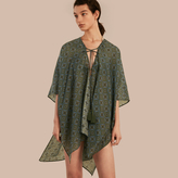 Burberry Geometric Tile Print Cotton Silk Swimwear Cover-up