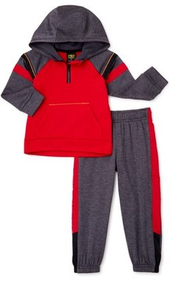 Athletic Works Baby Boy & Toddler Boy Quarter-Zip Jacket & Sweatpants Outfit Set, 2-Piece (12M-5T)