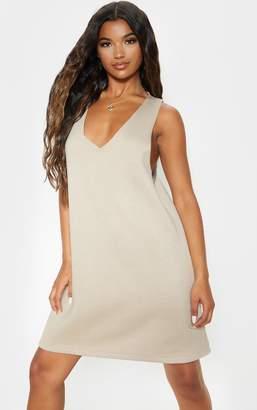PrettyLittleThing Stone Oversized V Neck Sleeveless Sweater Dress