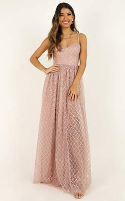 Showpo Sparkle With Love Dress in blush glitter - 4 (XXS) Dresses