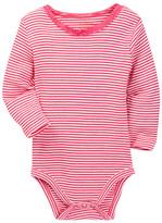 Joe Fresh Ribbed Striped Bodysuit (Baby Girls)