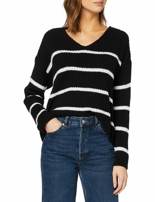 New Look Women's V NECK STRIPE CROP JUMPER Sweater