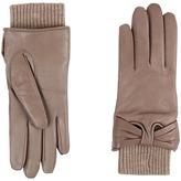 UGG Smart Leather Gloves w/ Knit/Bow Trim