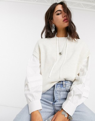 Only oversized knitted vest in cream