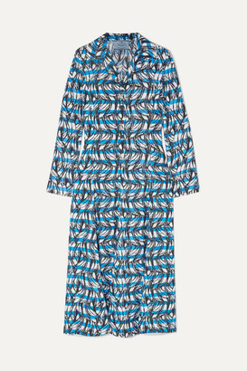 Prada Printed Twill Shirt Dress - Blue