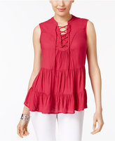 Style&Co. Style & Co Tiered Lace-Up Top, Only at Macy's