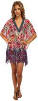 Badgley Mischka Nadia V-Neck Beaded Tunic Cover-Up