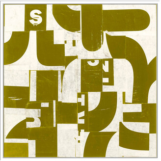 Jonathan Bass Studio Collaged Letters Gold D, Decorative Framed Hand Embellished Canvas