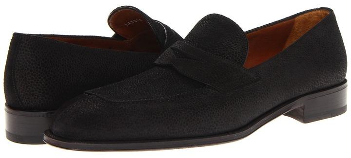a. testoni Grain English Suede Penny Loafer (Black) - Footwear