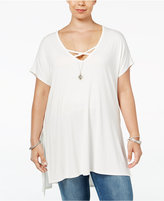 Soprano Trendy Plus Size Strappy Tunic T-Shirt