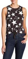 Chaser Vintage Stars Tie Front Graphic Tank