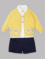 Autograph 3 Piece Cardigan & Top with Shorts Outfit
