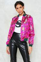 Nasty Gal All Systems Are Grow Satin Bomber Jacket