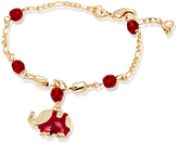 Sweet & Soft Ruby Crystal & Gold Elephant Charm Bracelet
