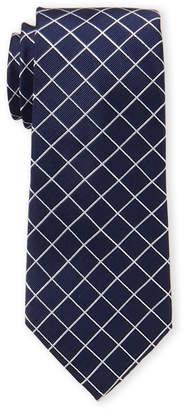 MICHAEL Michael Kors Navy Simplistic Line Check Silk Tie