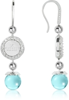 Rebecca Boulevard Stone Rhodium Over Bronze Dangle Earrings w/Turquoise Hydrothermal Stone