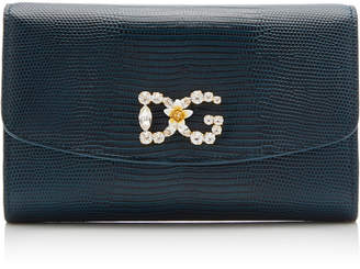 Dolce & Gabbana St. Dauphine Micro Lizard-Effect Leather Clutch