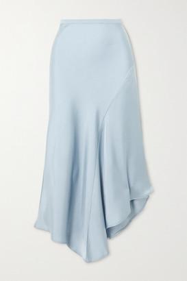 Anine Bing Bailey Asymmetric Silk-satin Midi Skirt - Blue