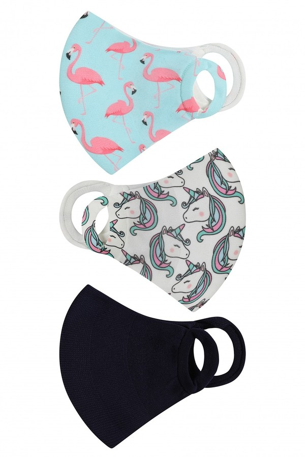 Little Mistress Personal Care Unicorn And Flamingo Print 3 Pack Kids Mask Face Coverings