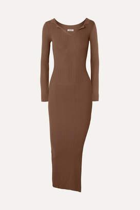 Totême Arezzo Ribbed-knit Midi Dress - Camel