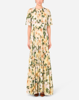 Dolce & Gabbana Short-Sleeved Long Chiffon Dress