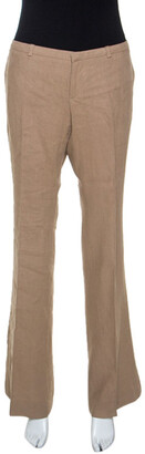 Gucci Beige Linen Flared Trousers M