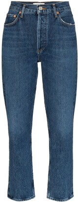 A Gold E Agolde cropped straight leg jeans