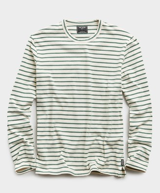 Todd Snyder Long Sleeve Japanese Nautical Stripe Tee in Green