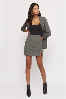 Dynamite Herringbone Mini Skirt Black Herringbone
