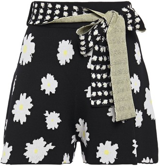 Maje Belted Floral-jacquard Shorts