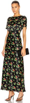 BERNADETTE Jane Silk Satin Dress in Red Crayon Rose On Black | FWRD