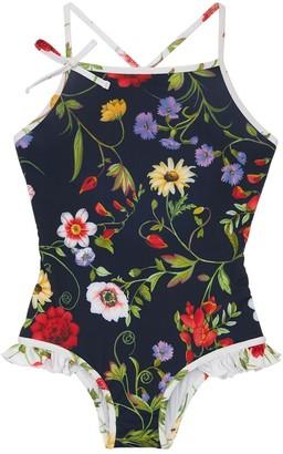 Oscar de la Renta Flower Print Lycra One Piece Swimsuit