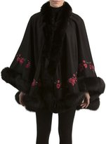 Gorski Floral-Embroidered Cashmere Cape with Fox Fur Trim, Black