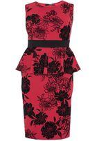 Quiz Curve Red Glitter Flock Peplum Midi Dress