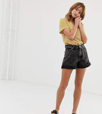 Monki turn up organic cotton denim shorts in black acid wash