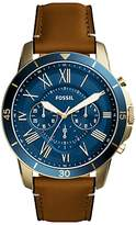 Fossil Fs5268 Grant Chronograph Leather Strap Watch, Tan/blue