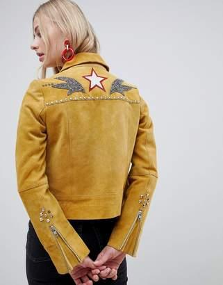 Muu Baa Muubaa Western Style Suede Jacket-Yellow