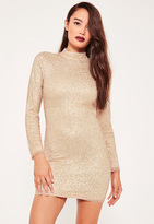 Missguided Petite Exclusive Gold High Neck Glitter Mini Dress
