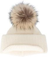 Inverni Neutral Ribbed Cashmere Hat with Visor and Fur Pom Pom