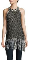 Vince Camuto Fringe-Accented Knit Tank