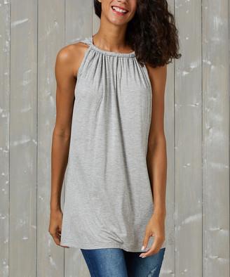 Simple By Suzanne Betro Simple by Suzanne Betro Women's Tunics 105charcol - Charcoal Gathered-Neck Tank - Women & Plus
