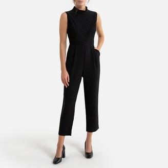 Molly Bracken High-Neck Jumpsuit with Lace Top