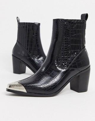 Raid Priscilla western boots in black croc with toe cap