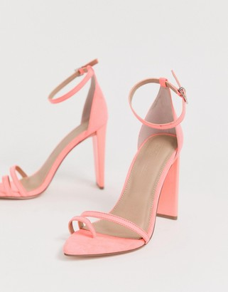 Barely There ASOS DESIGN Harper block heeled sandals in pink